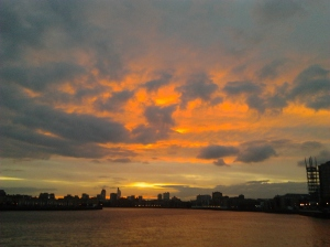 Sunset in August from Canary Wharf