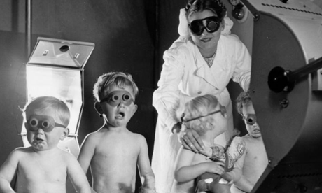 Young children unsure of the benefits of sun-lamps, Bristol health centre, July 1948.