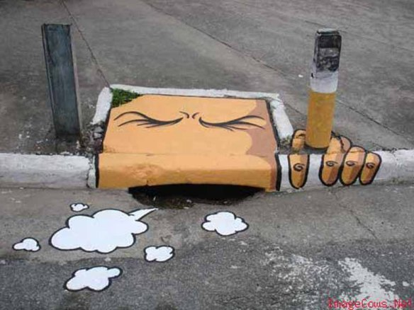 Smoking drain cover street art